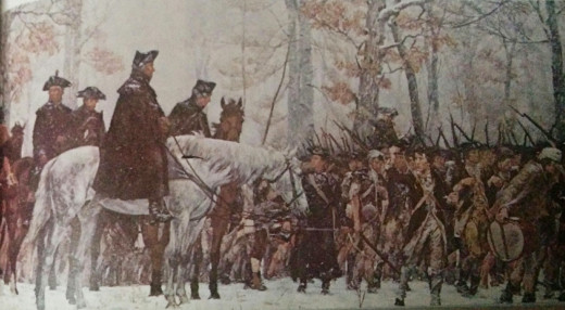 painting of Washington on his white horse at Valley Forge, winter 1777-8