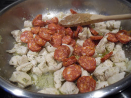 once chicken browned, add chorizo.