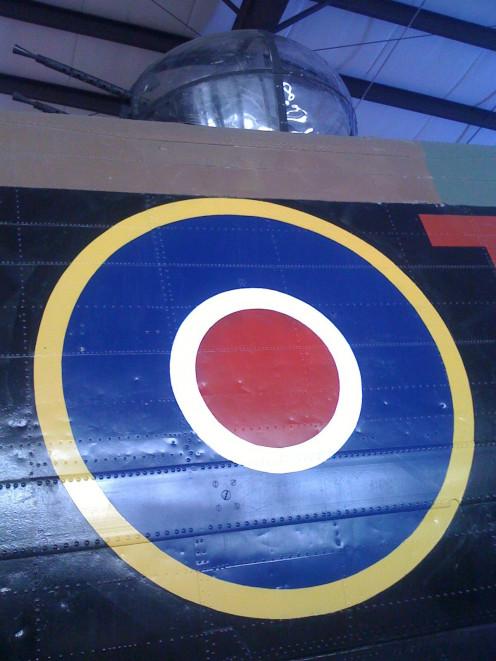 Dorsal gun turret of Avro Lancaster Mk X FM159, at the Bomber Command Museum of Canada, Nanton Alberta.