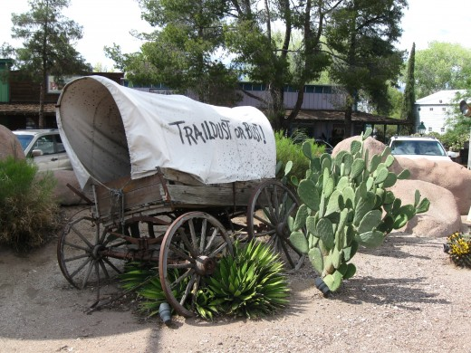 """Trail Dust or Bust"" Covered Wagon in Tucson, AZ"