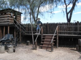 Soldier on guard at the fort in Tucson Arizona's Trail Dust Town