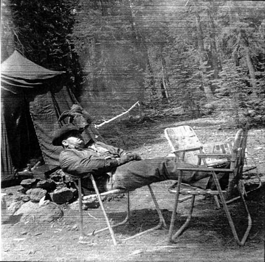 Dad in his favorite camping posture.
