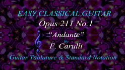 Carulli: Opus 211 No.1 - Andante| Easy Classical Guitar in Standard Notation and Guitar Tab