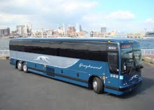 Newly-designed Greyhound bus