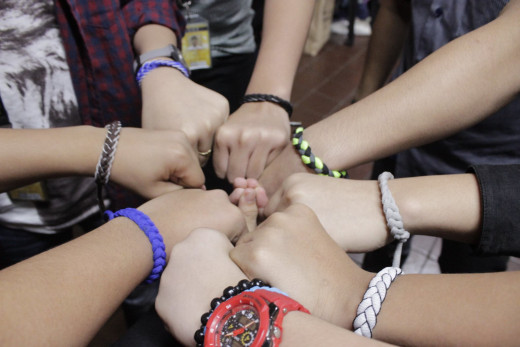 My friends and I wear bracelets as symbols of our ever-lasting friendship. Together, bullies don't stand a chance!