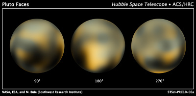 Three images of Pluto from the Hubble Space Telescope