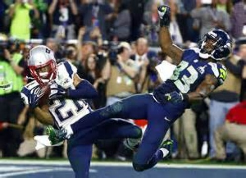 The play that cost the Seahawks the title.  Ricardo Lockette got the blame but he had no shot at this ball.