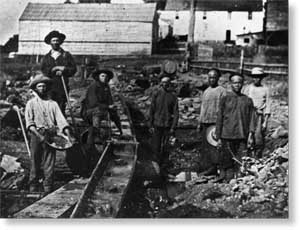 White and Chinese miners at Auburn Ravine, c. 1852.