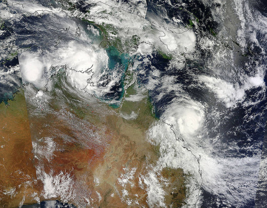 The twin cyclone Lam and Marcia hitting Australia simultaneously