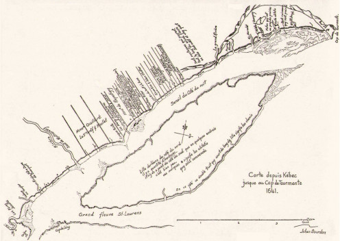 Map of Beaupré and Orléans Island, at east of Quebec City, made by Jean Bourdon in 1641. (Mgr Cyprien Tanguay dans son Dictionnaire généalogique des familles canadiennes, Province de Québec, Eusèbe Senécal, Imprimeur-éditeur, 1871-1890.)