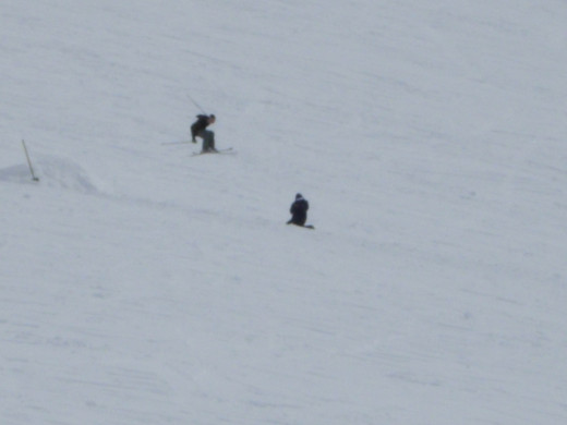 Skier going off a jump
