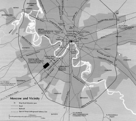 Map of the Metro-2 system as supposed by the United States military intelligence.
