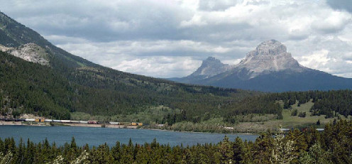 Crowsnest Mountain and Seven Sisters (to the left) in the Canadian Rockies. Picture (probably) taken from Highway 3 above Crowsnest Lake looking north (NNE), some 5 km east of Crowsnest Pass,
