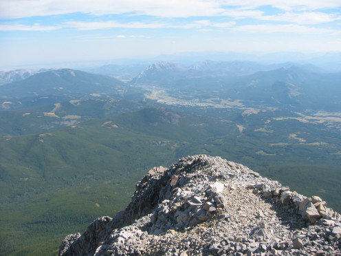 View of the towns of Coleman (near) and Blairmore (far) from the summit of Crowsnest Mountain.