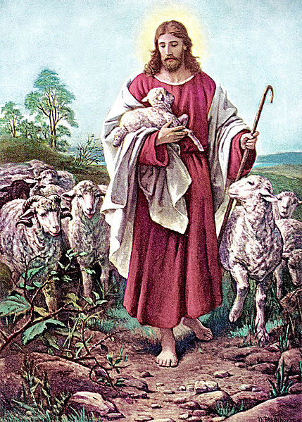 Jesus depicted as a Shepherd guiding his flock
