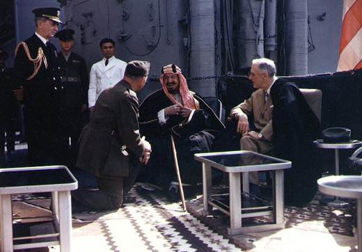 FDR didn't leave without bestowing upon Ibn Saud his spare wheelchair. Both leaders suffered from Polio in their old age.