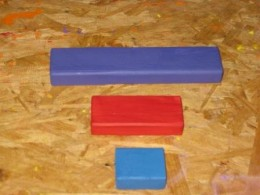The purple red and blue square and rectangle 3 sizes blocks