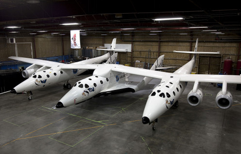 SpaceShipTwo (in the middle of its mother ship, White Knight Two)