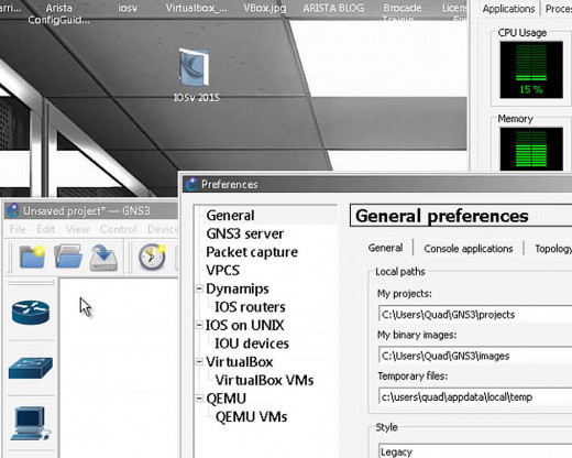 "in GNS3 click on ""EDIT"" then ""PREFERENCES"""