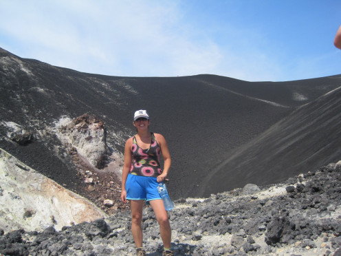 Here I am standing in the crater of Volcan Cerro Negro.