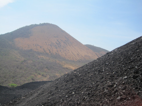 In the foreground in the slope of Cerro Negro, looking out at the face of El Hoyo, which was our destination to sleep under the stars.