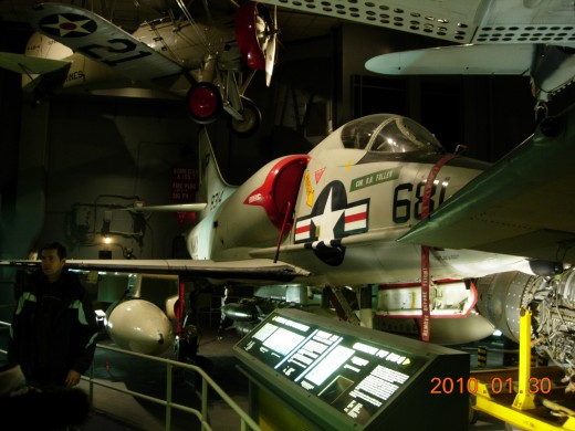 An A-4 Skyhawk in the Naval Aviation Gallery at the National Air & Space Museum.