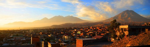 The city of Arequipa sprawls in front of magnificent mountains