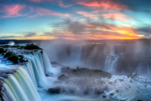 The power and beauty of the water and the sun at Iguazu Falls