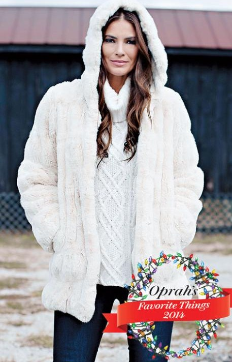 Ivory Hooded Hooded Faux Fur