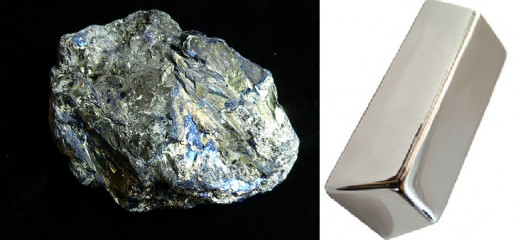 Silver ore with a silver bullion bar. difference in luster.