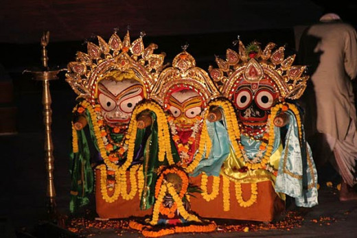 Jagannath, Subhadra, Balabhadra in Jagannath temple Puri