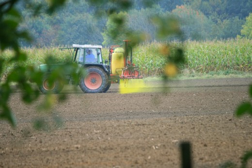 Tractor spraying pesticides!