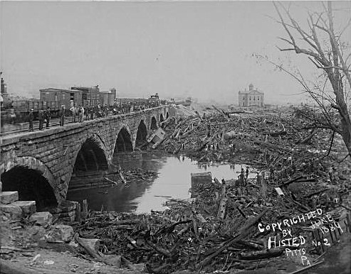 Debris at Stone Bridge c. 1889
