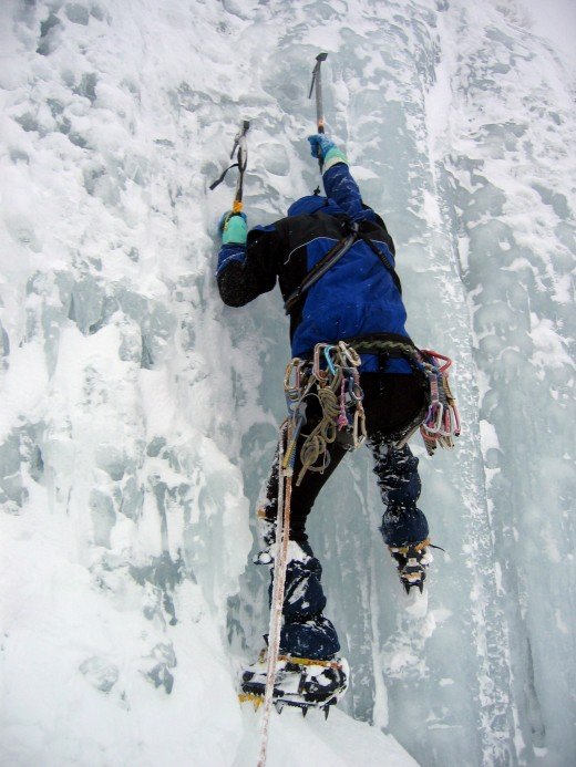 Ice climbing in Germany, one step at a time.