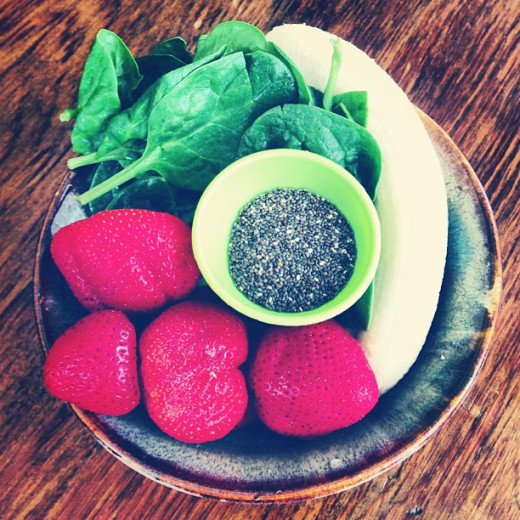 A delicious and healthy chia based snack. Strawberries, banana, spinach and chia seeds