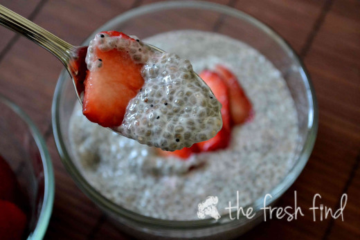 Chia seed delicious pudding with strawberries