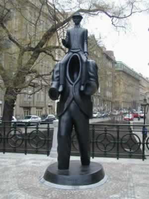 Bronze statue of writer Franz Kafka (Prague)