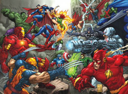 Marvel Characters (Left) Vs DC (Right)