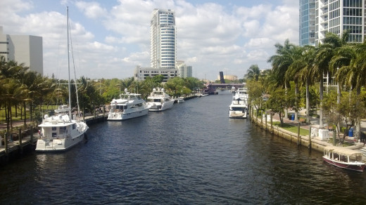 The New River as it flows through downtown Fort Lauderdale.  The New River's name is a reference to the legend that the river appeared overnight.