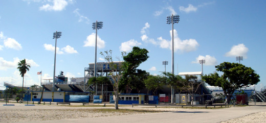 Lockhart Stadium, home venue of the Fort Lauderdale Strikers.  The original Strikers team played between 1977 and 1983.  The modern team come from when Miami FC relocated to Fort Lauderdale.