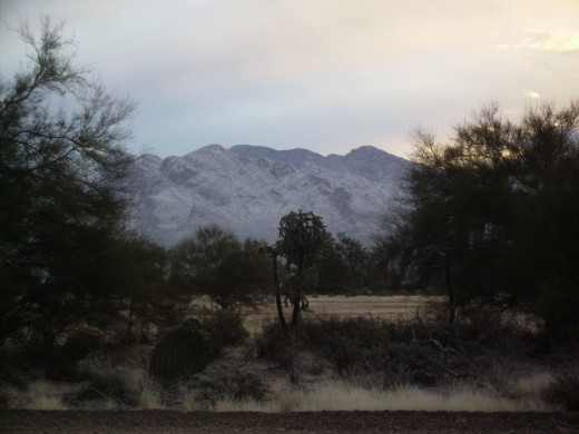 Snow covered Santa Catalina Mountains form a beautiful winter scene in Tucson, Arizona