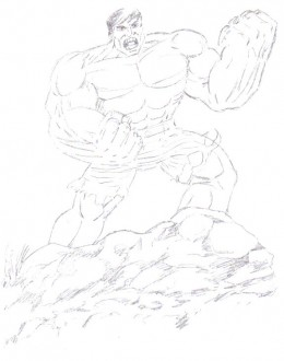 See the muscle form of the hulk, which is quite important for the design of the hulk.
