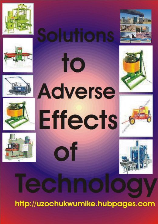 Solutions to the negative effects of technology. The picture is designed with technological products including concrete mixing machine.