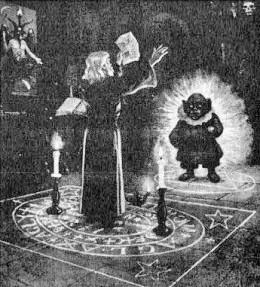 An old illustration that purportedly shows someone summoning the entity Yota or Yoda, a demon within this Luciferian religion.