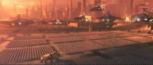 the clones of the Clone Wars march blindly and obediently like Nazi soldiers