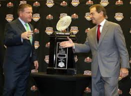 Brian Kelly, left, Notre Dame, Nick Saban, Alabama shake hands at media event before the two met in a BCS National Championship Game in which Bama won