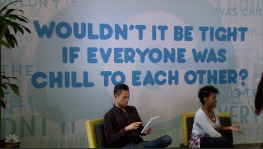 Parks and Rec's Season 7 adversary Gryzzl have an amusing but untrue slogan.