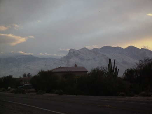 Snow covered Catalina Mountains following a rare January snow storm in Tucson Arizona