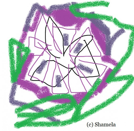 My drawing of a purple flower.