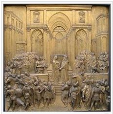 The story of the Queen of Sheba and Solomon on a set of bronze doors.